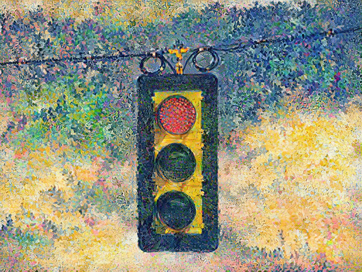 AI painting of a red light